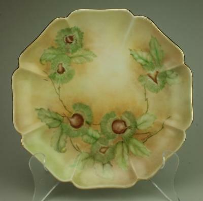 Hand Painted Floral Multi Sided Sandwich, Biscuit or Serving Plate Signed CS20
