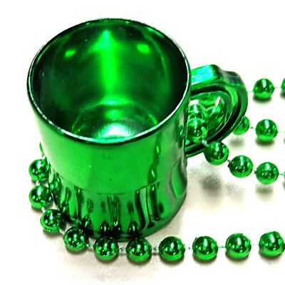 Beer Green Shot Mug St Patrick's Day Mardi Gras Bead Beads Necklace Chains