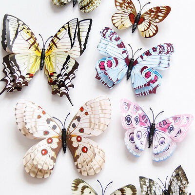 12 Pcs 3D Simulation Butterfly Magnetic Wall Stickers Children Decals Home Decor
