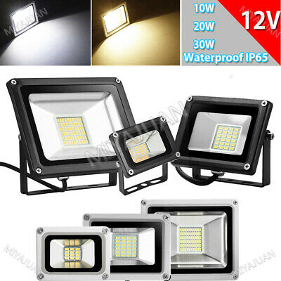 12V 10W 20W 30W LED Floodlight Security Outdoor Garden Lamp Cool/Warm White IP65