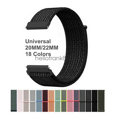 20mm 22mm Woven Nylon Sport Loop Watch Band Strap Quick Release Spring Pins