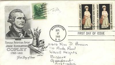 USA First Day of Issue 1965 pair JS Copley to Australia