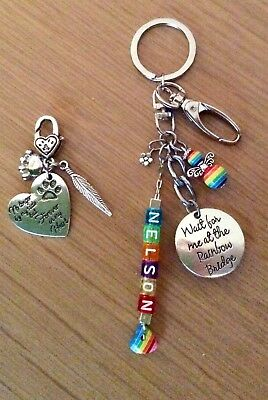 Pet Dog Cat Memorial Rainbow Bridge Personalised Clip & Keyring Keepsake Gift ❤️