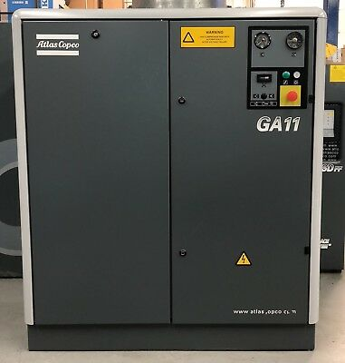 Atlas Copco GA11 Rotary Screw Compressor 11Kw, 15Hp, 54Cfm Immaculate!