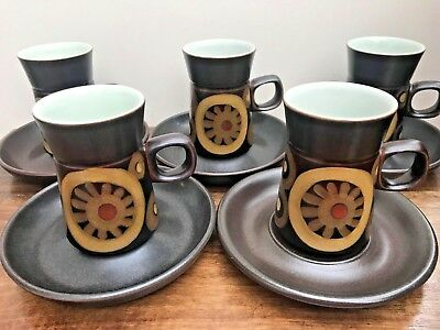 Denby Arabesque Coffee Cup and Saucers x 5, 1960s Retro Denby Pottery
