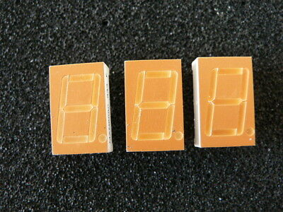3 x Fairchild MAN6680 Orange Seven Segment Display Common Anode