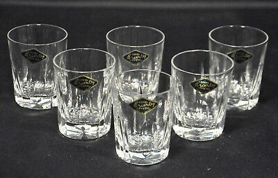 Rare Set Of 6 Royal Brierley Dominion Pattern Lead Crystal Tot Glass Tumblers