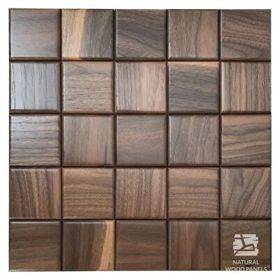 Natural Wood Wall Panel American Walnut Chocolate Cube Smooth Decor 3D Sample