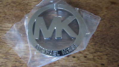 Michael Kors MK Logo Medallion FOB Hang Tag Charm Silver Toned No Leather NEW