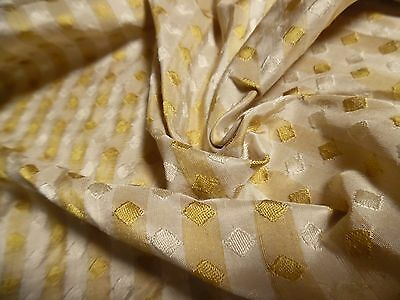 "SILK JACQUARD~DIAMONDS/STRIPES~PARCHMENT/GOLD~12""x28""~DOLL  FABRIC~REVERSIBLE"