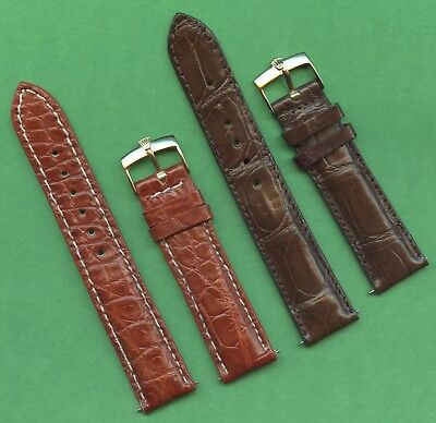 GENUINE ROLEX GOLD BUCKLE & 20mm GEN. BROWN CROCODILE STRAP BAND LEATHER LINED