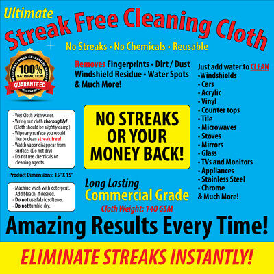 Streak Free Cleaning Cloth, 3 PACK, Chemical Free, Car, Home, FREE SHIPPING
