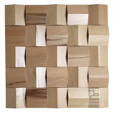 Natural Solid Wood Wall Panel Beech Crystal Effect Cube Smooth Decor 3D Samples