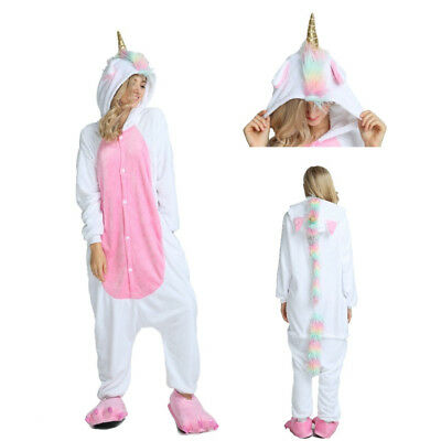 Adult Cartoon Unicorn Pajama Set Hooded Design For Winter Cosplay Warm Costumes