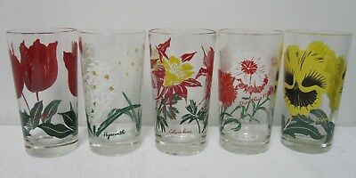 "Boscul 5"" Peanut Butter Glasses Set of 5 Five Assorted Flowers"