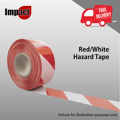 Hazard Tape Barrier Haz Red & White Line Cordon Barricade Off Polyethene