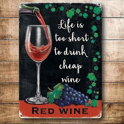 Retro Vintage Style Metal Sign Red Wine Bar Pub Home Kitchen  Shop Wall Decor