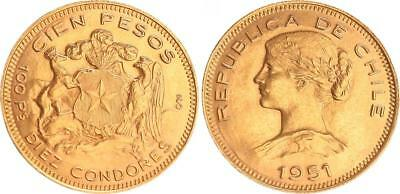Chile 100 Pesos Gold 1951 Almost Mint State