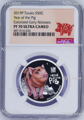 2019 P Australia PROOF Silver Lunar Year of the PIG Baby NGC PF 70 1/2oz Coin