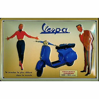 Vespa Le Scooter French Embossed Vintage Retro Style Metal Sign