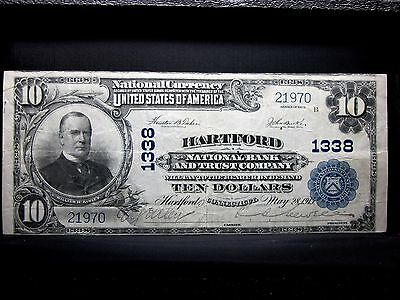 1902 $10 NATIONAL BANK NOTE ✪ NTL BANK & TC of HARTFORD ✪ CT 1338 ◢TRUSTED◣