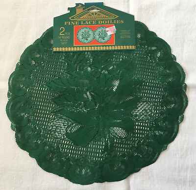 "Set of 2 Green Christmas Holiday Lace Doilies Holly Design 14"" Round"