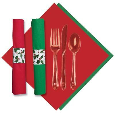 Hoffmaster 119995 Holly CaterWrap, Pre-Rolled Red/Jade 2-Ply Dinner Napkins and