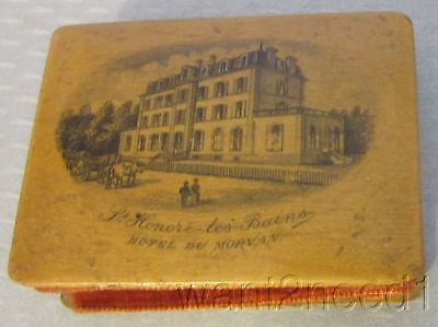 19c antique MAUCHLINE WARE WOOD NEEDLEBOOK French souvenir St Honore Hotel scene