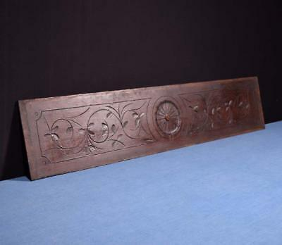 "*41"" French Antique Hand Carved Architectural Panel Solid Oak Wood Trim"