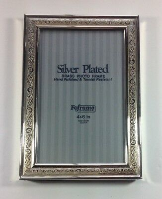 "Foframe Silver Plated Brass Photo Picture Frame 4"" x 6"" Leaves Embossed Frame"