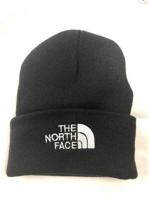 NORTH FACE black THERMAL KNIT HAT ski cap BEANIE new EAR BAND one size