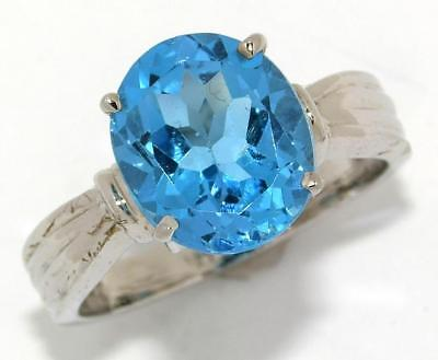 Rhodium Plated Sterling Silver Natural 5.23 ct Blue Topaz Ring Solitaire 7-1/2