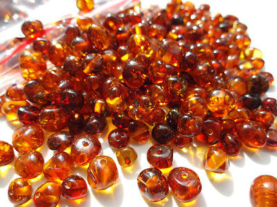 NATURAL BALTIC AMBER HOLED COGNAC  ROUND LOOSE BEADS 10 gr