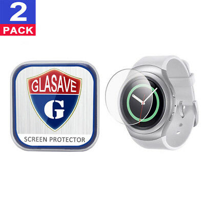 (2 Pack) GLASAVE Samsung Gear S2 R730 Tempered Glass Screen Protector Film Saver