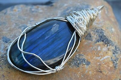 *¨¨*:•sterling Silver Filled Wire Wrapped Labradorite Gemstone Pendant •:*¨¨*:•.