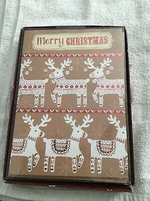 New Boxed Christmas Cards 16 Count Deer Merry Christmas