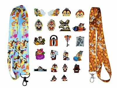 Chip & Dale Themed Starter Lanyard Set w/ 5 Disney Park Trading Pins - Brand NEW