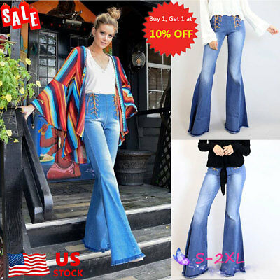 Womens High Waist Flared Bell Bottom Jeans Denim Stretch Lace Up Pants Trousers