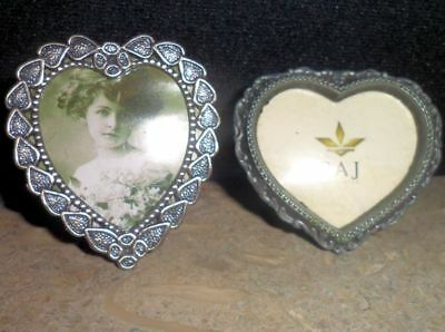 Vintage Embossed Hearts Decorative Pewter Standing Photo Frame Picture 2 PC