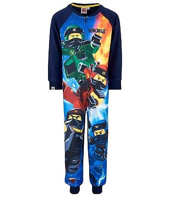 Boys Kids Children Lego Ninjago fleece all in one pyjamas pjs Age 3-10 yrs