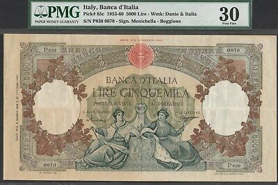 Italy 10000 lire 1959, P85c, large and beautiful PMG VF *30*!