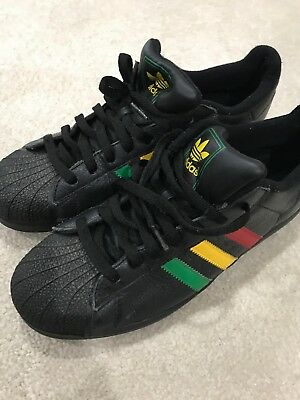 ADIDAS RASTA JAMAICA Black Red Yellow Green Shell Toe Mens Size 11.5 ... 92b43551d9fc