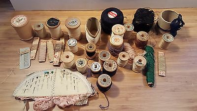 VTG Lot 30 Wood Thread Spools, Knitting Yarns, Darning Silk AH Rice, J&P Coats