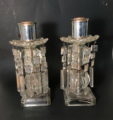 N 43 Antique Very Cool Lucite Prisms And Glass Lamp Bases