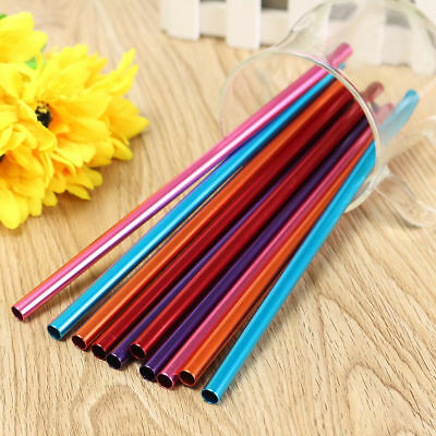 Reusable Eco Metal Drinking Straws Straight Stainless Aluminium cleaner straw