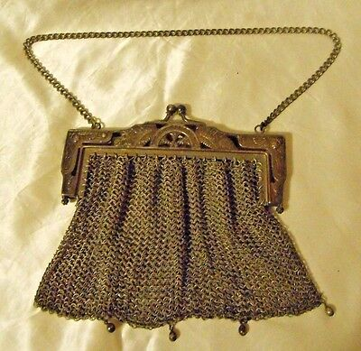 Egyptian Style Antique German Silver Mesh Purse