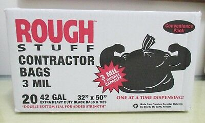 """Rough Stuff Heavy Duty Contractor Bags 42 Gallon 3 Mil 32"""" x 50"""" 20 Bags"""