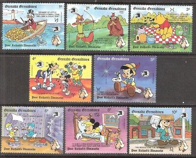 Grenada Grenadines 1989 Disney Ben Franklin Poor Richard MNH (SC# 1098-1105)