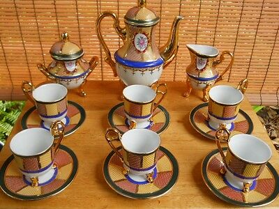 Hand Painted Fine Porcelain Coffee Set Rose Cameo & Gold w/Feet