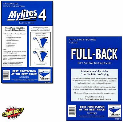 50 Mylites4 STANDARD Mylar Sleeves & Full Backs 42pt Board 725M4/700FB E. Gerber